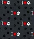 Snuggle Flannel Fabric -Pawprints on Gray