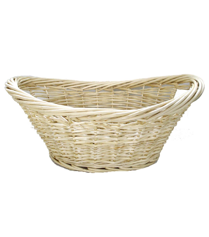 Organizing Essentials Oval Heavy Rim Willow Laundry Basket