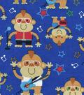 Snuggle Flannel Fabric 42\u0027\u0027-Monkey Rock Band