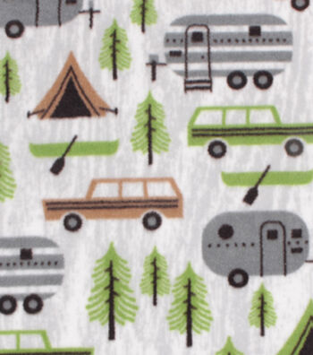 Anti-Pill Plush Fleece Fabric -Camping And Pines