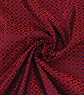Yaya Han Cosplay Brocade Fabric 58''-Blue Japanese Geometric on Red