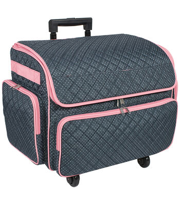 Extra Large 4 Wheel Rolling Sewing Case-Dots on Blue