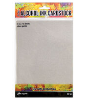 Tim Holtz Alcohol Ink Cardstock-Silver Sparkle, , hi-res