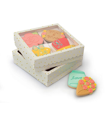 Sweet Sugarbelle 4 Cookie Box White and Gold Dot