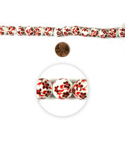 Blue Moon Strung Ceramic Beads,Round,White w/Red,Floral, , hi-res
