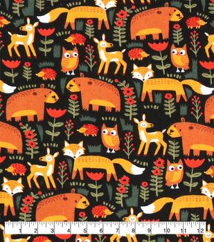Super Snuggle Flannel Fabric-Woodland Animals on Black