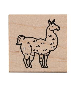 American Crafts Wooden Stamp Llama
