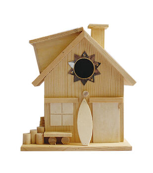 Unfinished Wood Birdhouse-Surf Shack