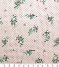 Silky Crinkle Rayon Fabric-Peach Floral Pink Dot