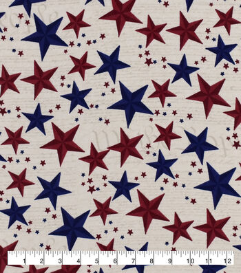 Snuggle Flannel Fabric-Red Blue Stars On Script