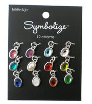 hildie & jo Symbolize 12 Pack Mini Oval Silver Birthstone Charms, , hi-res