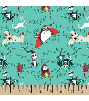 Nightmare Before Christmas Knit Fabric-Santa With Lights Knit