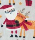 Anti-Pill Fleece Fabric -Santa Reindeer