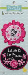 Babyville Boutique Appliques Pink Floral 2Ct