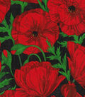 Novelty Cotton Fabric Panel 44\u0022-Red Poppies