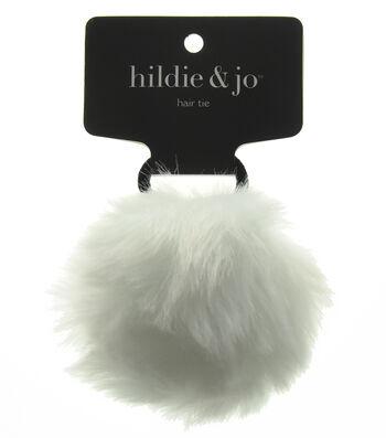 hildie & jo Pom Hair Tie-White