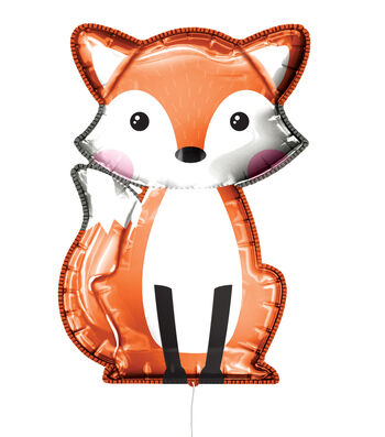 Fox Mylar Balloon with Ribbon