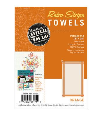 Stitch 'Em Up Vintage Box Stripe Dish Towels 18x28 3pk- Orange Natural