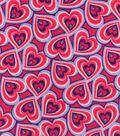 Snuggle Flannel Fabric 42\u0022-Swirl Heart Pink Purple