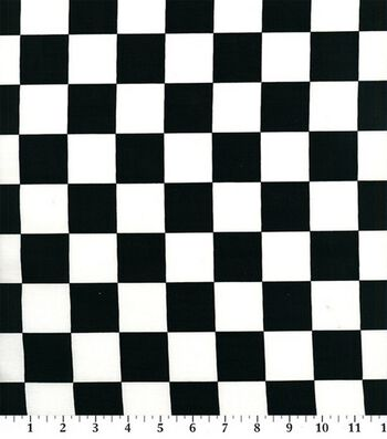 Novelty Cotton Fabric -Black & White Racing Check