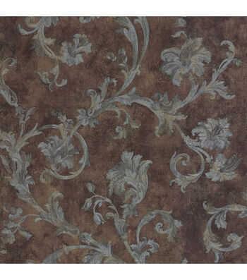 Denise Brown Scroll Wallpaper