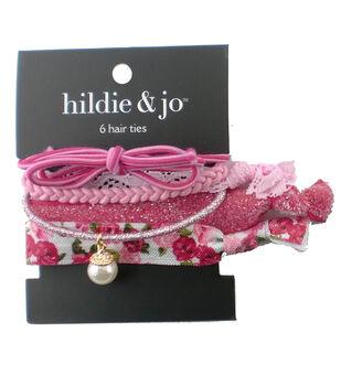 hildie & jo 6 Pack Hair Ties-Pink
