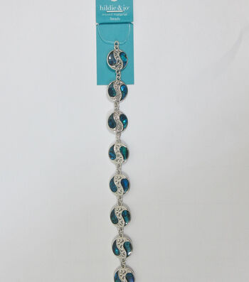 hildie & jo 7'' Swirl Shell & Metal Strung Beads-Blue & Silver