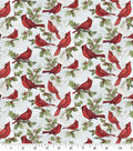 Christmas Cotton Fabric-Cardinals on Scripts