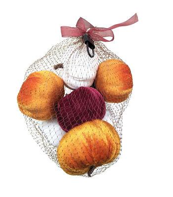 Simply Autumn Velvet Pumpkins in Mesh Bag