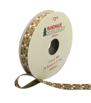 Handmade Holiday Christmas Linen Ribbon 3/8''x9'-Multi Dots
