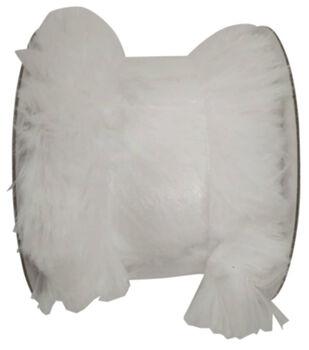 Handmade Holiday Christmas Faux Fur Ribbon 2.5''x4 yds-White