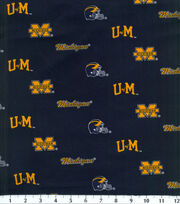 University of Michigan Wolverines Cotton Fabric 43''-Herringbone, , hi-res