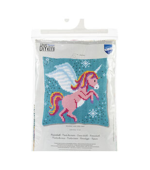 Vervaco Needlepoint Cushion Top Kit 16''X16''-Unicorn Stitched