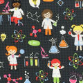 Novelty Cotton Fabric 44\u0022-Girl Science on Black