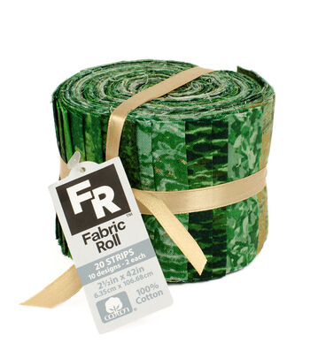 Jelly Roll Cotton Fabric Pack 2.5''x42''-Green & Metallic