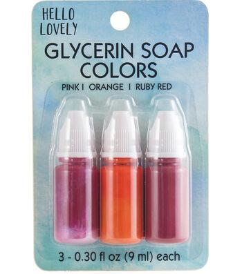 Hello Lovely 3 pk Beauty Glycerin Soap Colors-Pink, Orange & Ruby Red