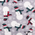 Anti-Pill Plush Fleece Fabric-Snowman And Scarves
