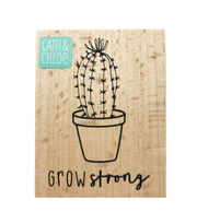 Hampton Art Cam & Chloe 2.5''x2'' Wood Mounted Rubber Stamp-Grow Strong, , hi-res