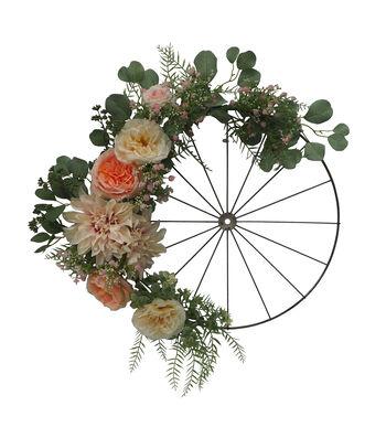Fresh Picked Spring 24'' Dahlia, Rose & Wheel Wreath