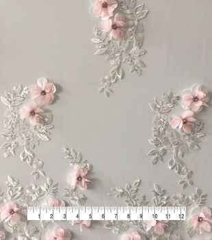 Save The Date 3D Flowers With Jewel Fabric-Pink