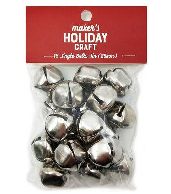 Maker's Holiday Craft Christmas 18 pk 1'' Bells-Silver