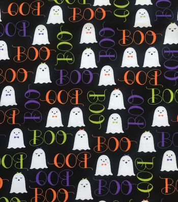 "Halloween Cotton Interlock Fabric 57""-Boo Ghosties"
