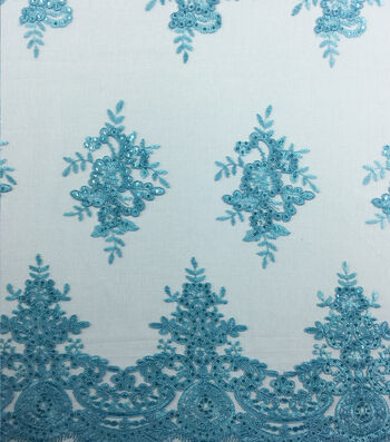 Corded Sequin Fashion Fabric 49''-Blue Radiance Embroidered