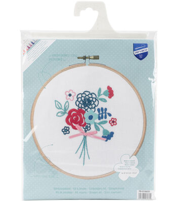 Vervaco 5.8'' Round Stamped Embroidery Kit-Modern Flowers with Bow