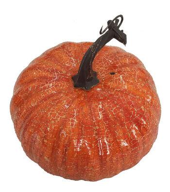 Blooming Autumn Small Pumpkin-Crackle on Orange