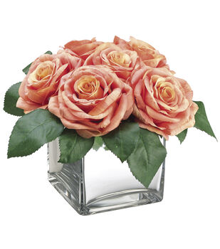 Bloom Room Luxe 8'' Open Rose In Ceramic Vase-Coral