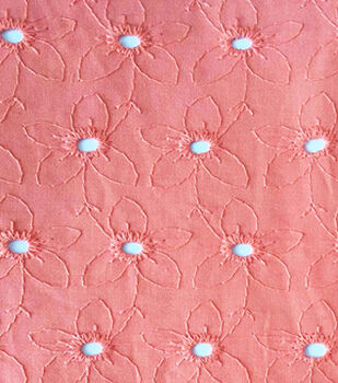 Embroidered Eyelet Cotton Fabric-Coral