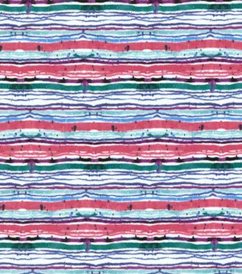 Premium Cotton Print Fabric 43''-Teal Watercolor Stripes