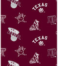 Texas A&M University Aggies Fleece Fabric -Allover Maroon