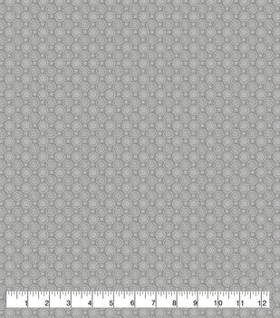 Wide Flannel Fabric-Gray Dotted Circles